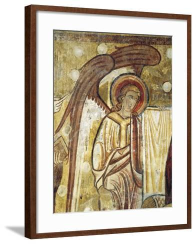 Angel Next to Gospel, Detail from 12th Century Fresco in Church at Abbey of Saint-Andre--Framed Art Print