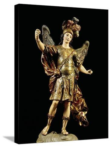 St. Michael, Painted Wooden Statue, Portuguese Art--Stretched Canvas Print