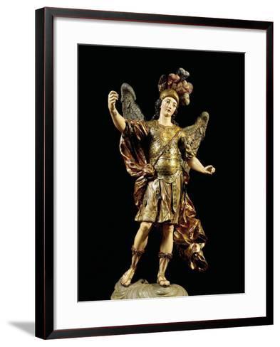 St. Michael, Painted Wooden Statue, Portuguese Art--Framed Art Print