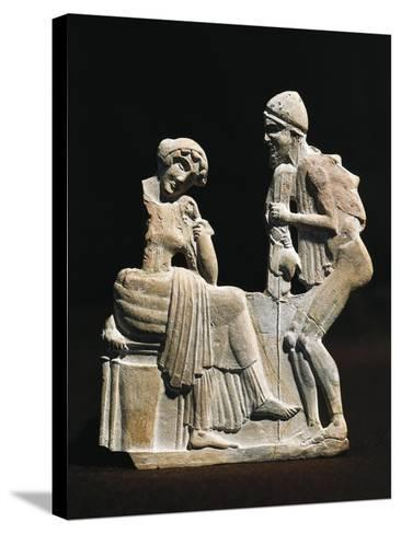 Polychrome Terracotta Relief Depicting Ulysses and Penelope, 450 B.C.--Stretched Canvas Print