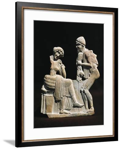 Polychrome Terracotta Relief Depicting Ulysses and Penelope, 450 B.C.--Framed Art Print