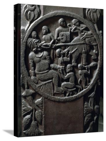 India, Bas-Relief Depicting Monkeys Using an Elephant to Pull a Tooth from a Giant--Stretched Canvas Print
