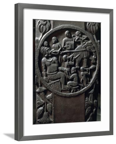 India, Bas-Relief Depicting Monkeys Using an Elephant to Pull a Tooth from a Giant--Framed Art Print
