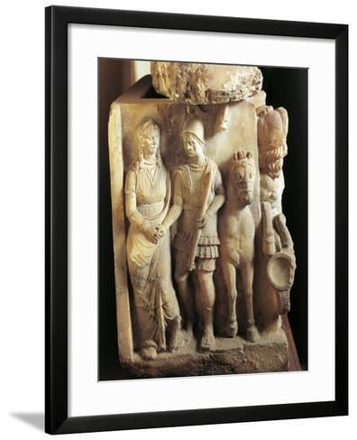 Alabaster Urn, Detail, Warrior Saying Good Bye to His Wife--Framed Art Print
