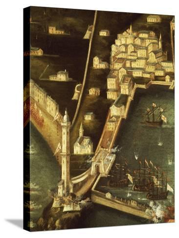 Bombardment of Genoa in 1684 by Fleet of French Ships, Painting Italy, Detail--Stretched Canvas Print