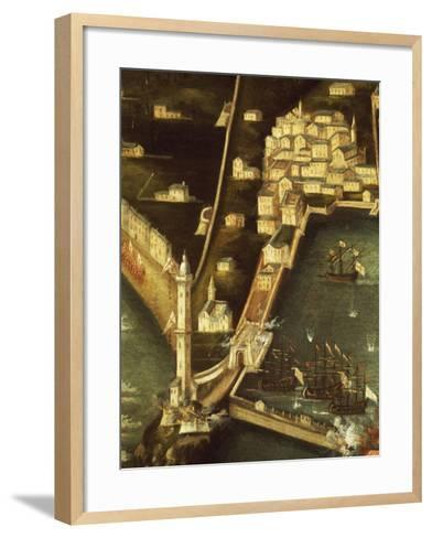 Bombardment of Genoa in 1684 by Fleet of French Ships, Painting Italy, Detail--Framed Art Print