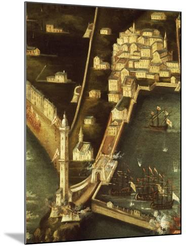 Bombardment of Genoa in 1684 by Fleet of French Ships, Painting Italy, Detail--Mounted Giclee Print