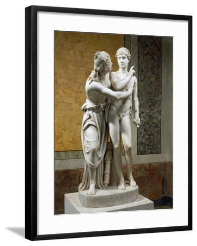 Marble Sculpture Group Portraying Cupid and Psyche--Framed Art Print