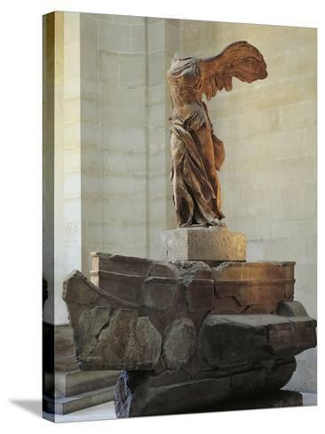 Parian Marble Statue of Winged Victory of Samothrace, also Called Nike of Samothrace--Stretched Canvas Print