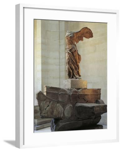 Parian Marble Statue of Winged Victory of Samothrace, also Called Nike of Samothrace--Framed Art Print