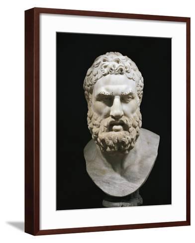 Marble Head of Heracles, Copy of Greek Original by Lysippus--Framed Art Print