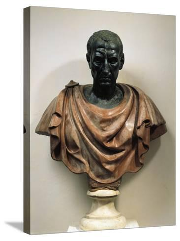 Bronze Head with Marble Bust of Julius Caesar--Stretched Canvas Print