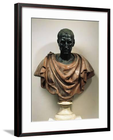 Bronze Head with Marble Bust of Julius Caesar--Framed Art Print