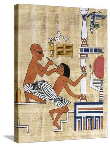 Papyrus Depicting Ophthalmic Treatment, Reconstruction of Mural Painting from Tomb of Ipi--Stretched Canvas Print