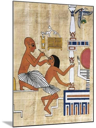 Papyrus Depicting Ophthalmic Treatment, Reconstruction of Mural Painting from Tomb of Ipi--Mounted Giclee Print