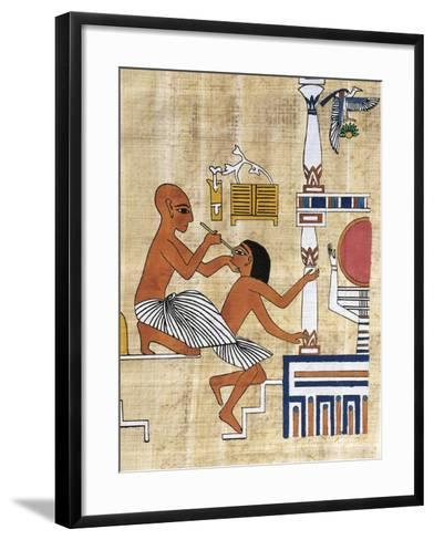 Papyrus Depicting Ophthalmic Treatment, Reconstruction of Mural Painting from Tomb of Ipi--Framed Art Print