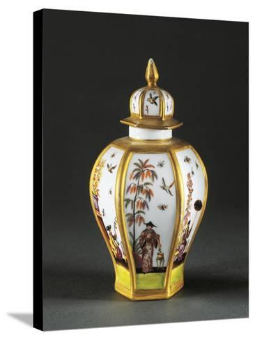 Tea Caddy with Chinoiserie Decoration, 1730, Porcelain, Meissen Manufacture, Saxony, Germany--Stretched Canvas Print