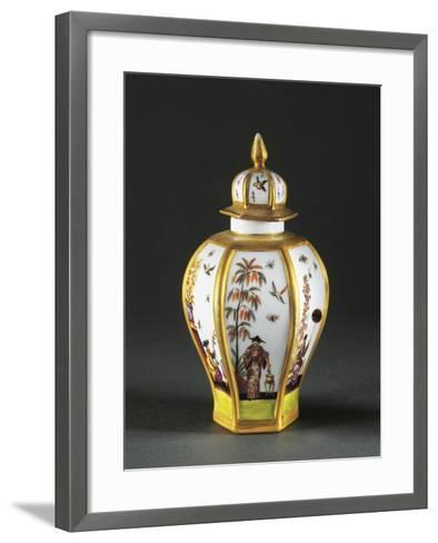 Tea Caddy with Chinoiserie Decoration, 1730, Porcelain, Meissen Manufacture, Saxony, Germany--Framed Art Print