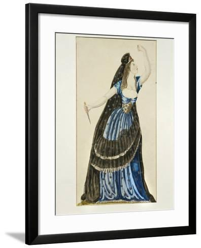 Costume Sketch for Queen of the Night for Performance the Magic Flute--Framed Art Print