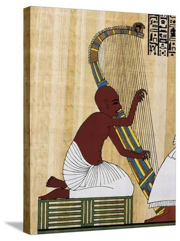 Papyrus Depicting Blind Harpist, Reconstruction of Mural Painting from Theban Tomb of Anhur Kau--Stretched Canvas Print