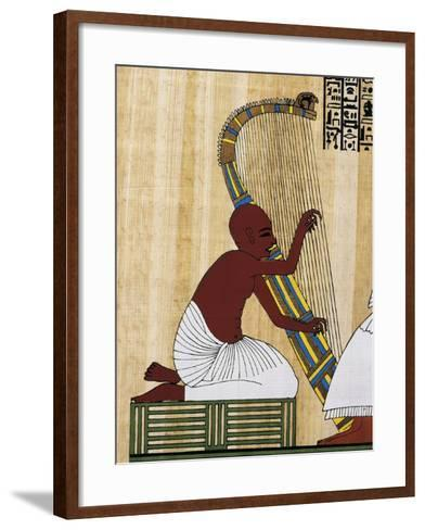 Papyrus Depicting Blind Harpist, Reconstruction of Mural Painting from Theban Tomb of Anhur Kau--Framed Art Print