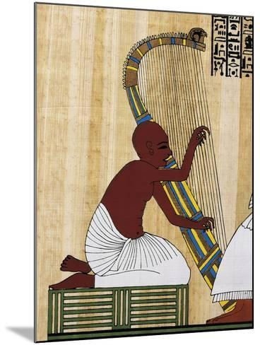 Papyrus Depicting Blind Harpist, Reconstruction of Mural Painting from Theban Tomb of Anhur Kau--Mounted Giclee Print