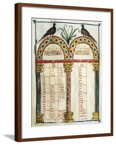 Illuminated Page of the Four Gospels, in Greek, Manuscript, 12th Century--Framed Art Print
