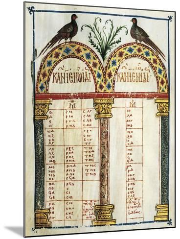 Illuminated Page of the Four Gospels, in Greek, Manuscript, 12th Century--Mounted Giclee Print