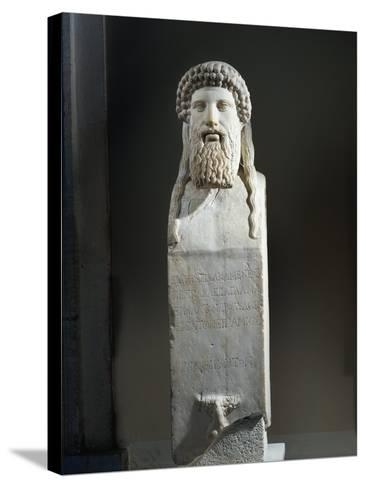 Marble Cippus with Head of Hermes, Copy after Original by Alkamenes of 5th Century B.C.--Stretched Canvas Print