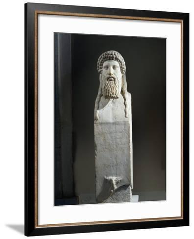 Marble Cippus with Head of Hermes, Copy after Original by Alkamenes of 5th Century B.C.--Framed Art Print