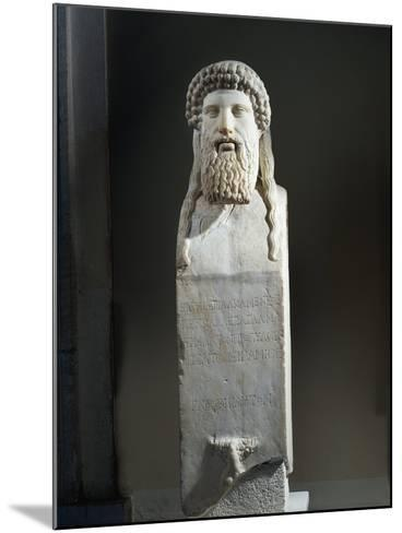 Marble Cippus with Head of Hermes, Copy after Original by Alkamenes of 5th Century B.C.--Mounted Giclee Print
