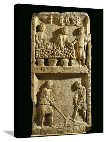 The Pillar of the Farmer, Relief Depicting a Fruit Market and Two Farmers Tilling the Soil--Stretched Canvas Print