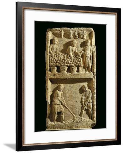 The Pillar of the Farmer, Relief Depicting a Fruit Market and Two Farmers Tilling the Soil--Framed Art Print