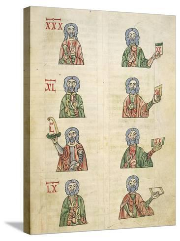 Learning to Count Using Fingers, Miniature from De Numeris, Manuscript, Italy 11th Century--Stretched Canvas Print