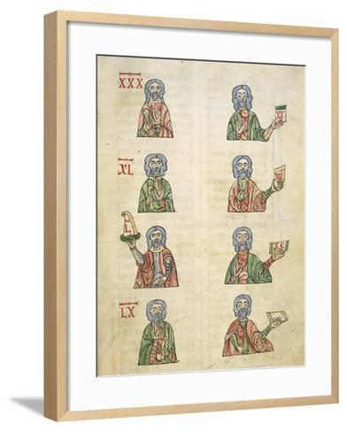 Learning to Count Using Fingers, Miniature from De Numeris, Manuscript, Italy 11th Century--Framed Art Print