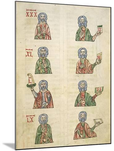 Learning to Count Using Fingers, Miniature from De Numeris, Manuscript, Italy 11th Century--Mounted Giclee Print
