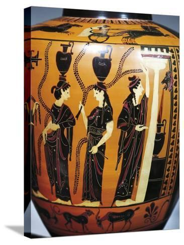 Black-Figure Pottery, Attic Hydria, Detail with Women Drawing Water from Fountain--Stretched Canvas Print
