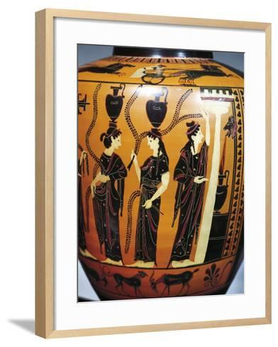 Black-Figure Pottery, Attic Hydria, Detail with Women Drawing Water from Fountain--Framed Art Print
