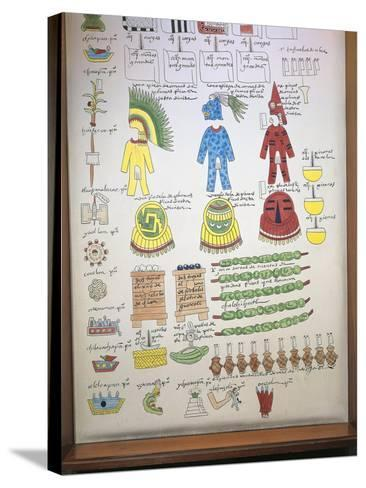 Codex Mendoza, Reproduction of Page with Illustration of Taxes Paid to Aztec Rulers--Stretched Canvas Print