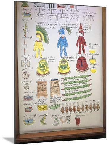 Codex Mendoza, Reproduction of Page with Illustration of Taxes Paid to Aztec Rulers--Mounted Giclee Print