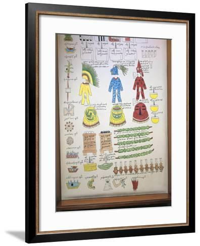 Codex Mendoza, Reproduction of Page with Illustration of Taxes Paid to Aztec Rulers--Framed Art Print