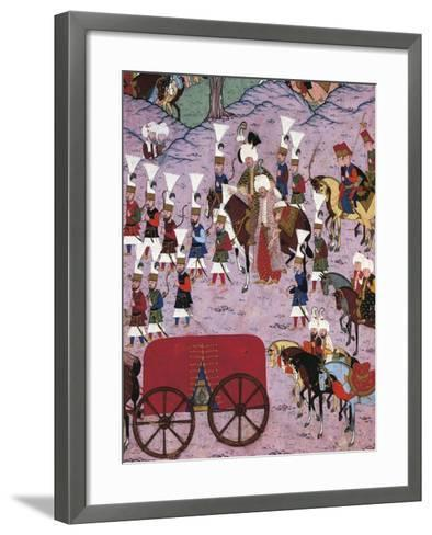 Suleiman the Magnificent and His Army, 1566, Ottoman Miniature, Turkey 16th Century--Framed Art Print
