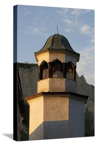 Bell Tower with Sandstone Pyramids in Background, Pirin, Melnik, Bulgaria--Stretched Canvas Print