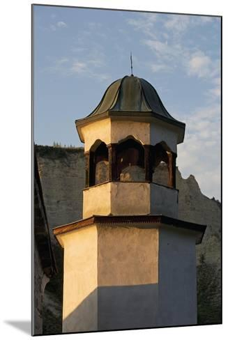 Bell Tower with Sandstone Pyramids in Background, Pirin, Melnik, Bulgaria--Mounted Giclee Print
