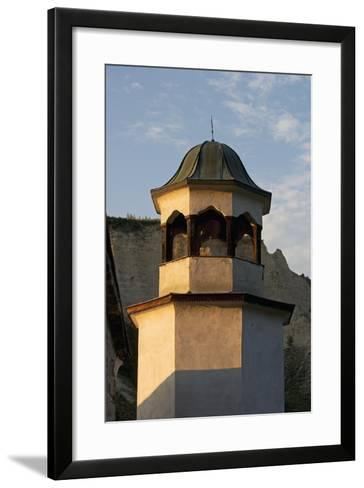 Bell Tower with Sandstone Pyramids in Background, Pirin, Melnik, Bulgaria--Framed Art Print