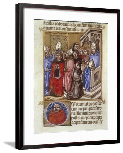 An Abbot Consecrated by a Bishop, Miniature from Concordantia Discordantium Acanonum--Framed Art Print