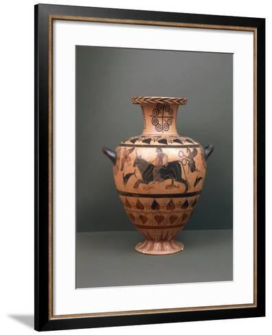 Etruscan Civilization, Black-Figure Pottery, Hydria Depicting 'The Abduction of Europe'--Framed Art Print
