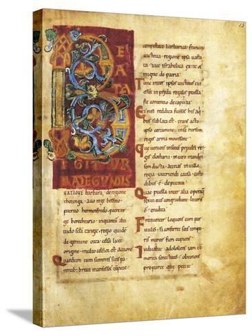 Initial Capital Letter B Adorned, Miniature from Life of Saint Radegunda, Manuscript--Stretched Canvas Print
