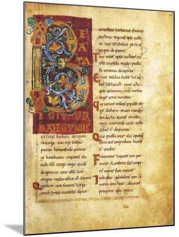 Initial Capital Letter B Adorned, Miniature from Life of Saint Radegunda, Manuscript--Mounted Giclee Print
