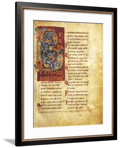 Initial Capital Letter B Adorned, Miniature from Life of Saint Radegunda, Manuscript--Framed Art Print